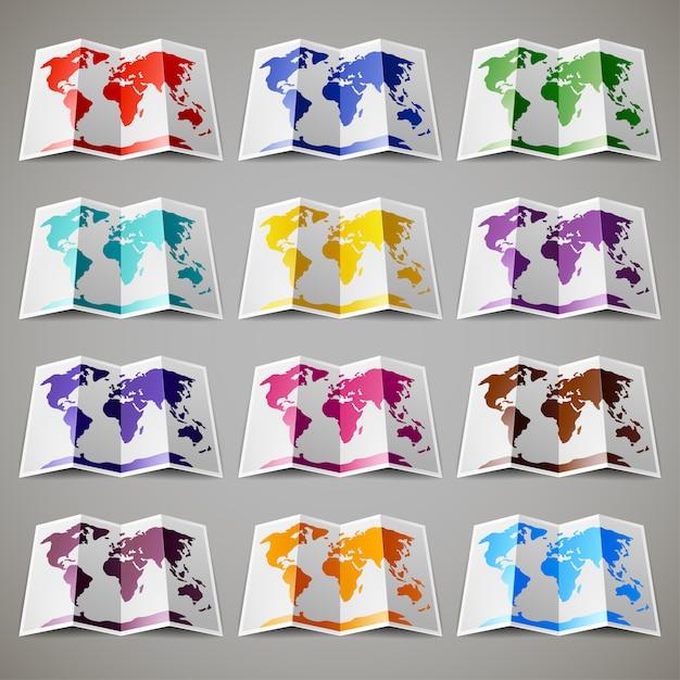 Set gekleurde kaarten van de wereld Premium Vector