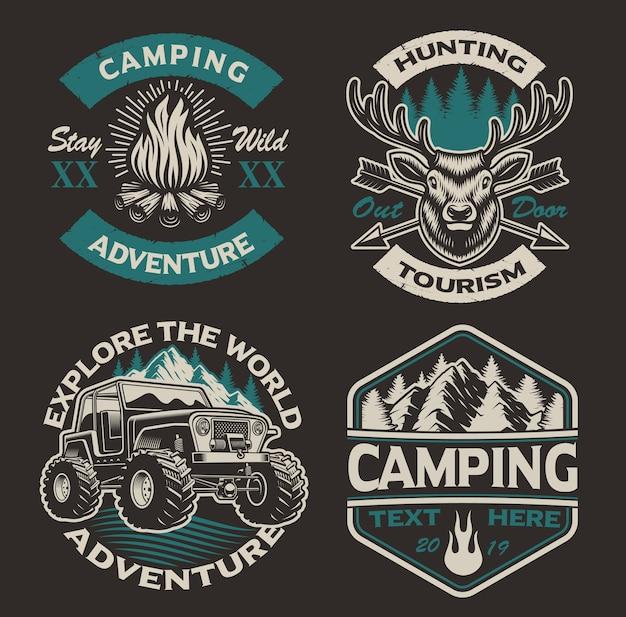 Set gekleurde logo's voor het campingthema. perfect voor posters, kleding, t-shirts en vele andere. gelaagd Premium Vector