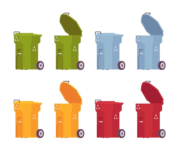 Set gekleurde vuilnisbakken op wielen, open en gesloten Premium Vector