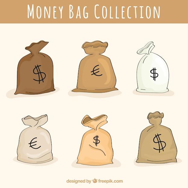 Set geldzakken met dollar en euro symbool Gratis Vector