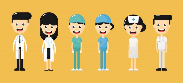 Set gelukkige artsen, verpleegkundigen en medisch personeel tekens. medisch team concept geïsoleerd op gele achtergrond. Premium Vector