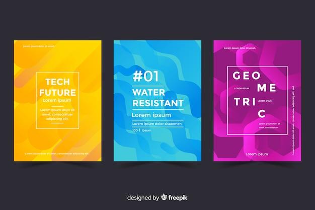 Set geometrisch ontwerp covers Gratis Vector