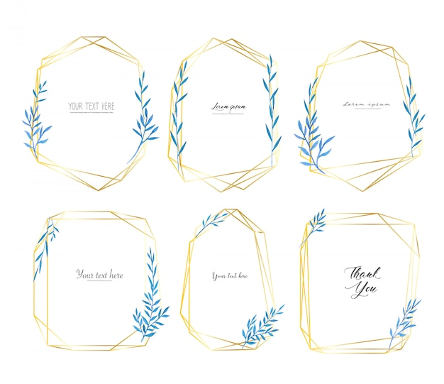 Set geometrische frame met bladeren aquarel, botanische samenstelling. Premium Vector