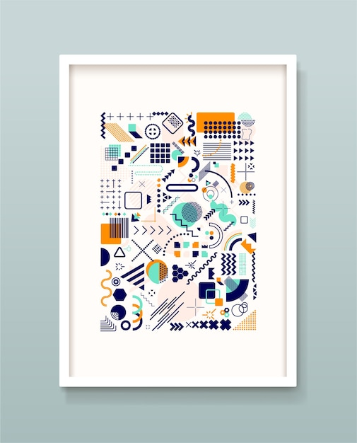 Set geometrische memphis, minimale naadloze textuur. Premium Vector