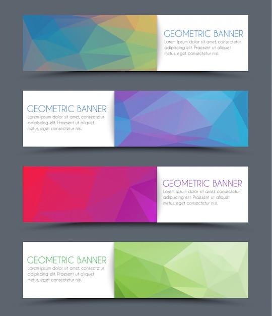 Set geometrische veelhoekige banners Premium Vector
