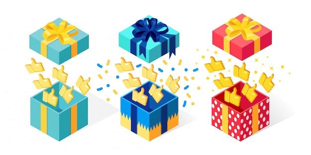Set geopende geschenkdoos met duimen omhoog op witte achtergrond. isometrisch pakket, verras met confetti. getuigenissen, feedback, klantbeoordelingsconcept. tekenfilm Premium Vector