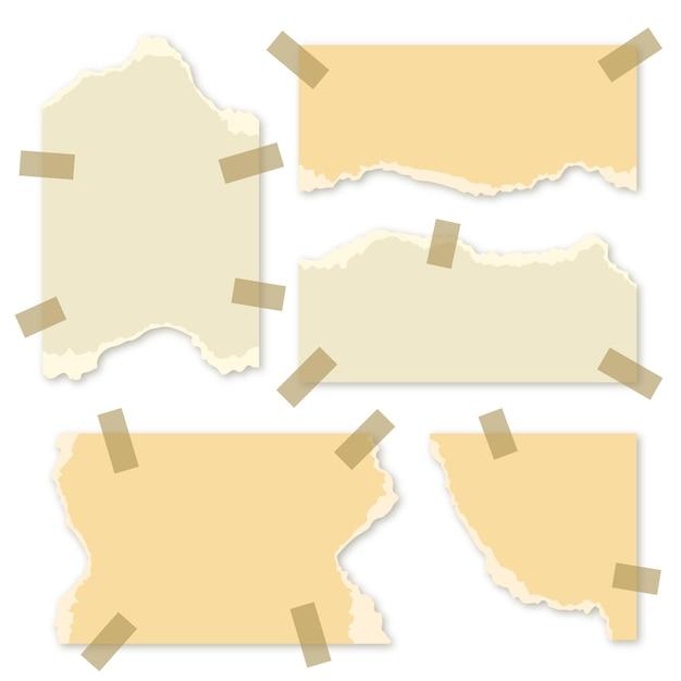 Set gescheurd papier in verschillende vormen Premium Vector