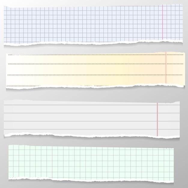 Set gescheurde witte en gele notitie, notitieboekstroken, gelinieerde en vierkante stukjes papier geplakt op een grijze achtergrond. merkt papier. Premium Vector