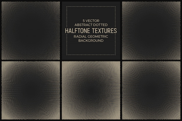 Set gestippelde radiale halftoontexturen Premium Vector