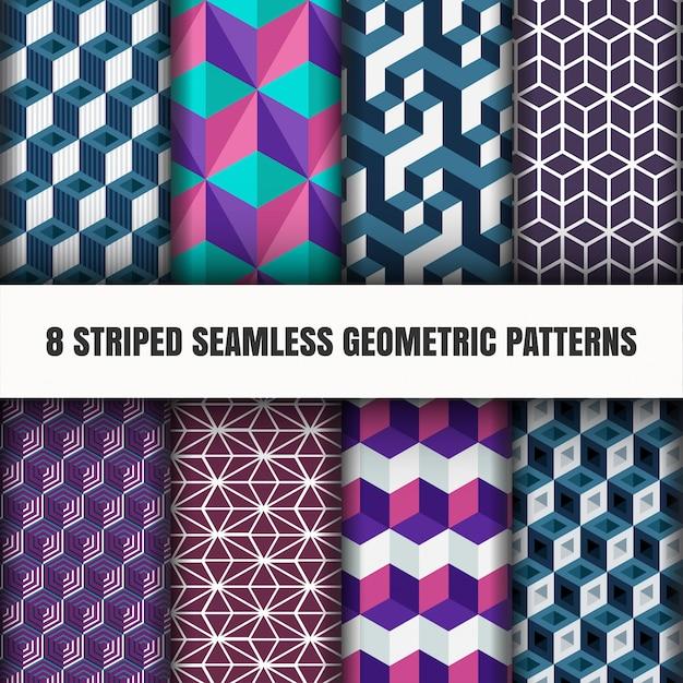 Set gestreepte naadloze geometrische patronen Gratis Vector