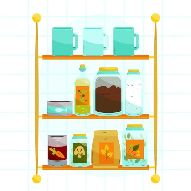 Set getekende pantry met verschillende voedingsmiddelen Gratis Vector