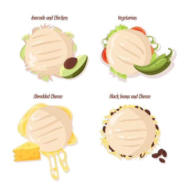 Set getekende smakelijke arepa's Gratis Vector