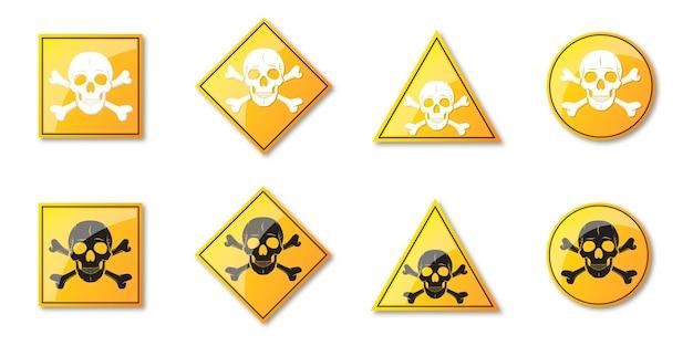 Set gevaar borden. waarschuwingssymbolen met menselijke schedel. geel gevaarsteken Premium Vector