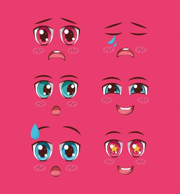 Set gezichten anime Gratis Vector