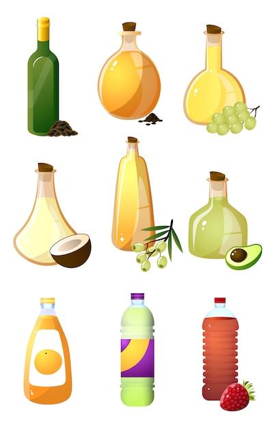 Set glazen fles verschillende olie of azijn voor keuken Premium Vector