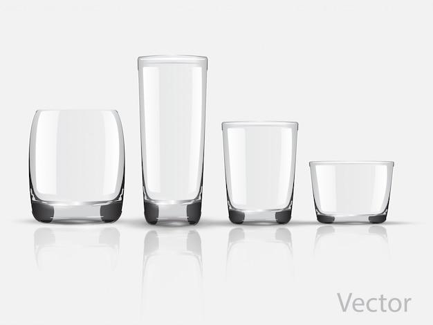 Set glazen glazen vector Premium Vector