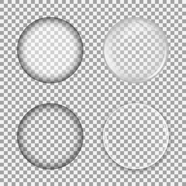 Set glazen lens op transparante achtergrond. bol zeepbel sjabloon Premium Vector
