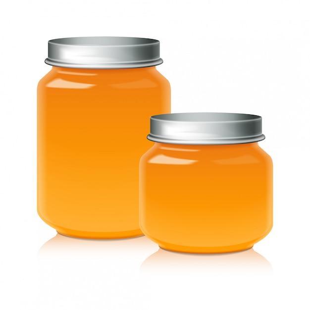 Set glazen pot voor honing, jam, gelei of babyvoeding puree sjabloon Premium Vector