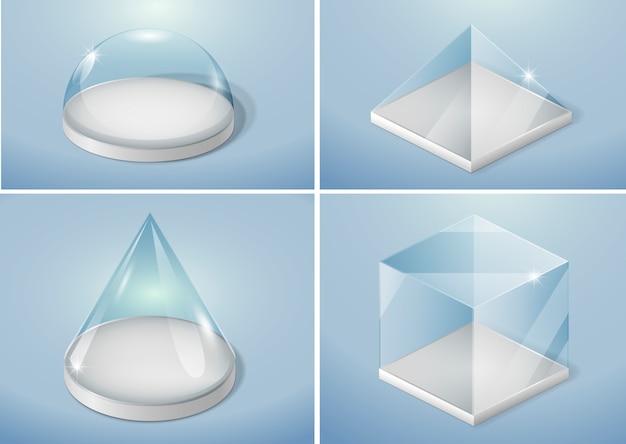 Set glazen vormen Premium Vector
