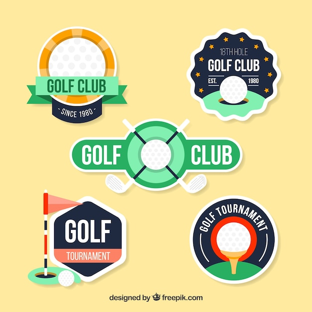Set golf badges in vlakke stijl Gratis Vector