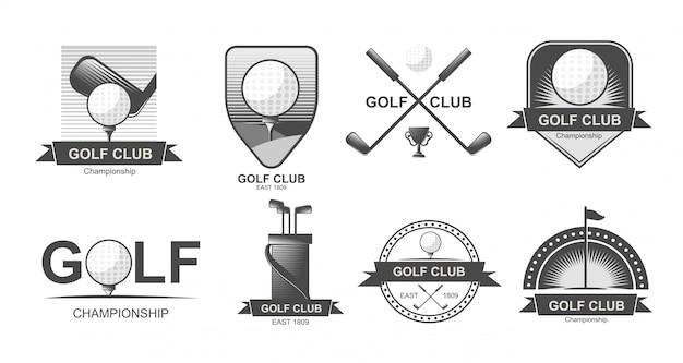 Set golf emblemen, labels, badges of logo's. Premium Vector