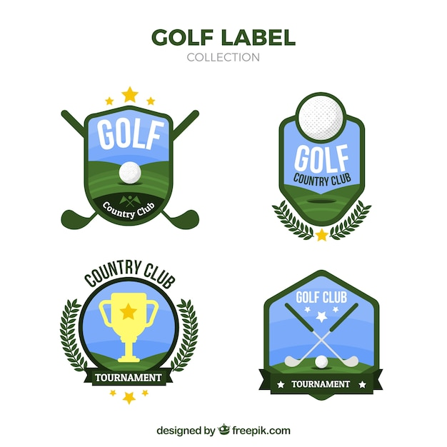 Set golf labels in vlakke stijl Gratis Vector