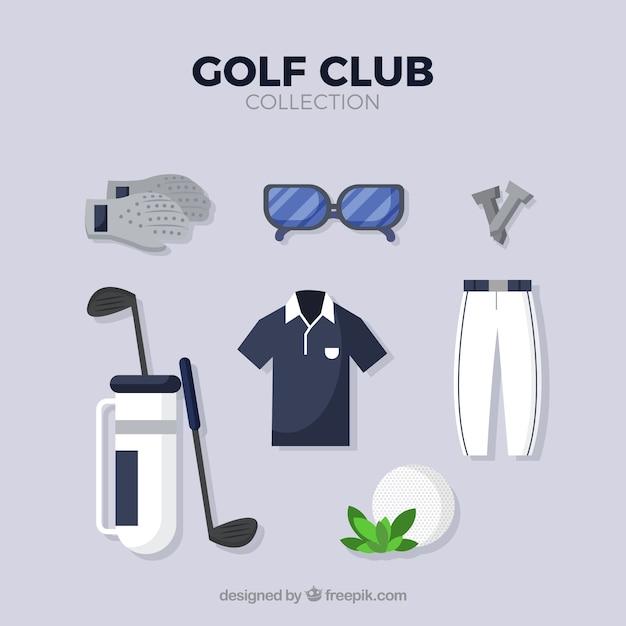 Set golfclubelementen in vlakke stijl Gratis Vector