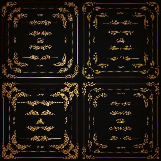 Set gouden decoratieve randen, frame Premium Vector