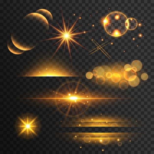 set gouden glitters verlichting en schittert met lens effect op transparante achtergrond Gratis Vector
