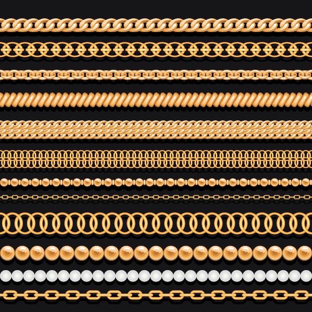 Set gouden kettingen kralen en touwen op zwart Premium Vector