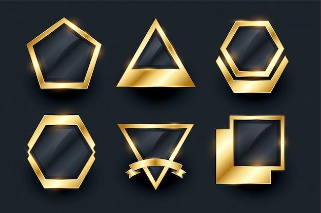 Set gouden lege badges en etiketten Gratis Vector