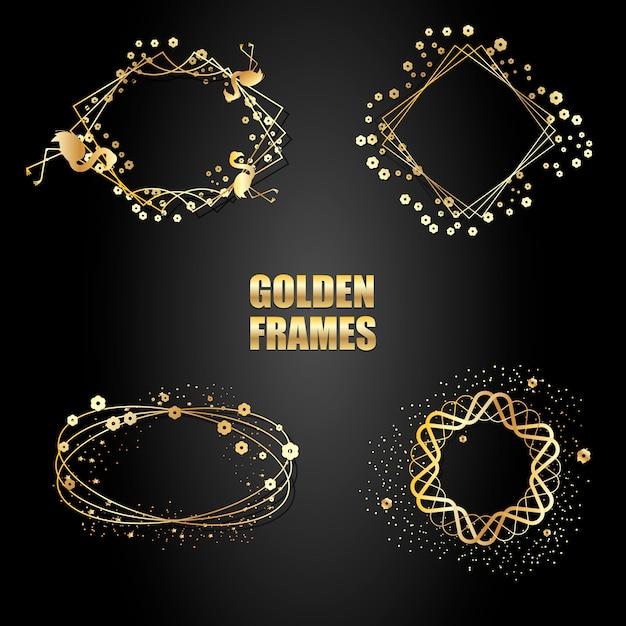 Set gouden metalen frames met sparkles. Premium Vector