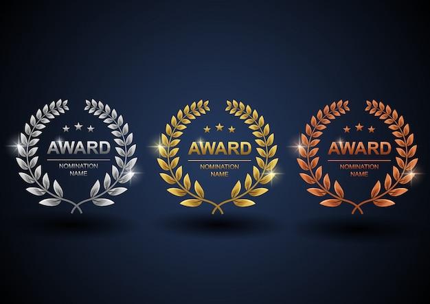 Set gouden, zilveren en bronzen lauwerkrans Premium Vector