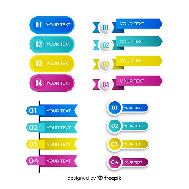 Set gradiënt infographic element Gratis Vector