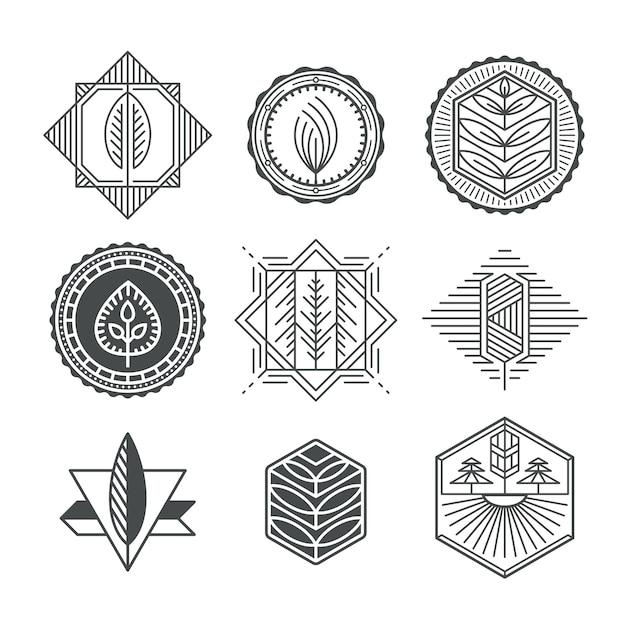 Set grafische natuurlijke labels, monolijn en monochromatisch ontwerpcollectie van ecotekens Premium Vector