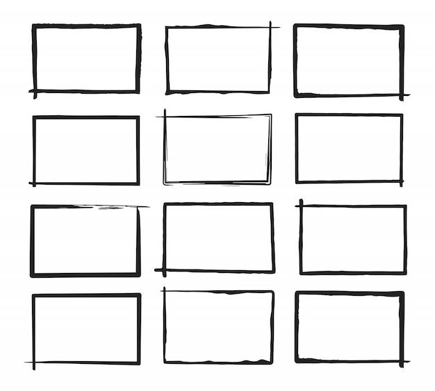Set grunge horizontale frames. hand getekende stijl. Premium Vector