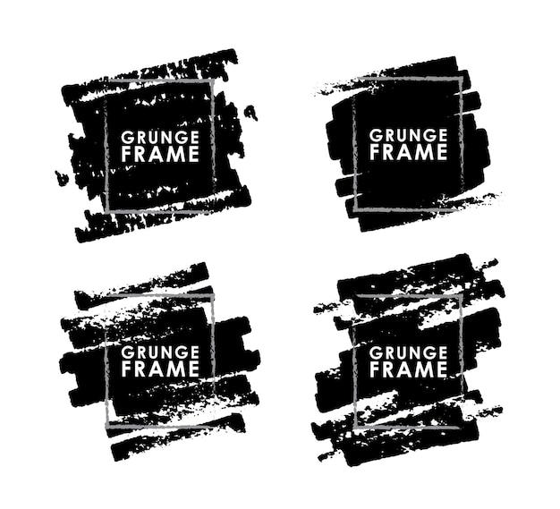 Set grunge penseelstreken frames op witte achtergrond Premium Vector