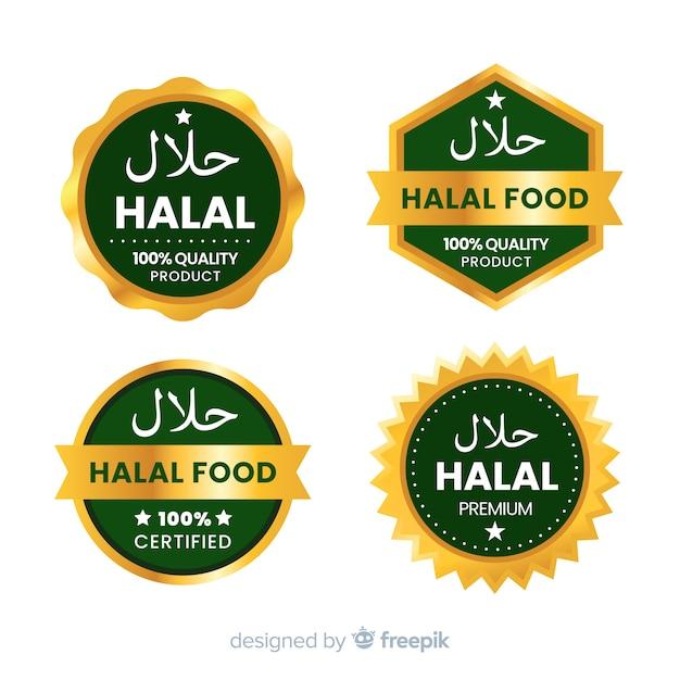 Set halal voedsel badges Gratis Vector