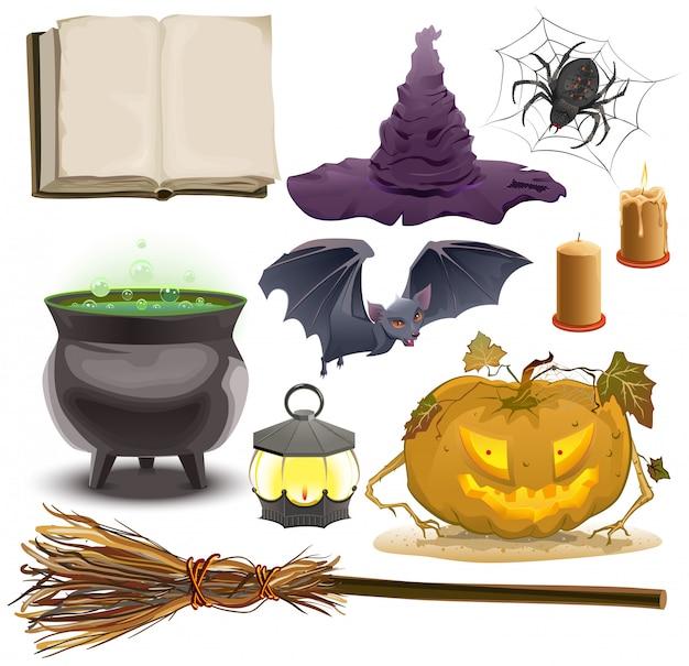 Set halloween-objecten accessoires pompoen, lantaarn, hoed, bezem, ketel, spin, vleermuis en oud boek Premium Vector