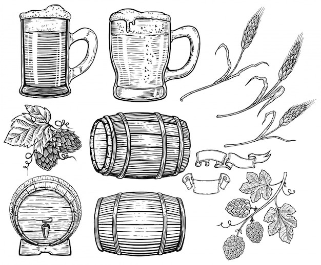 Set hand getrokken bier elementen. hop, tarwe, houten vaten, bierpullen. ontwerpelement voor poster, kaart, menu, embleem, badge. beeld Premium Vector
