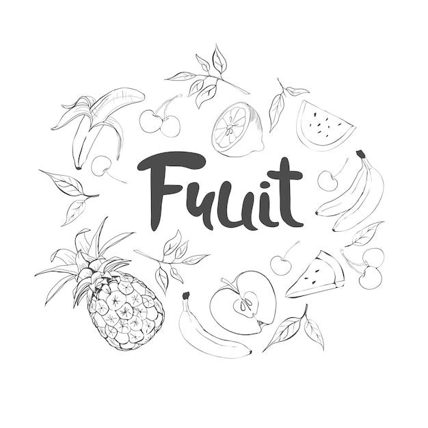 Set hand getrokken doodle fruit. vers en smakelijk eten. Premium Vector