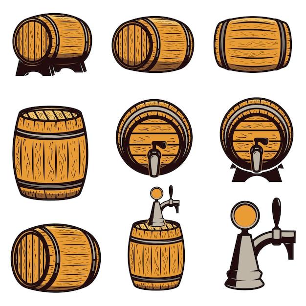 Set hand getrokken houten vaten op witte achtergrond. elementen voor logo, label, embleem, teken. illustratie Premium Vector