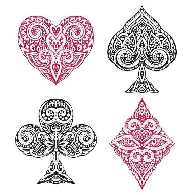 Set hand getrokken pak zwarte en rode speelkaart met decoratief ornament. objecten op een witte achtergrond Premium Vector