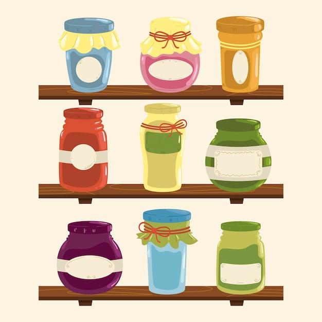 Set hand getrokken pantry met verschillende voedingsmiddelen Gratis Vector