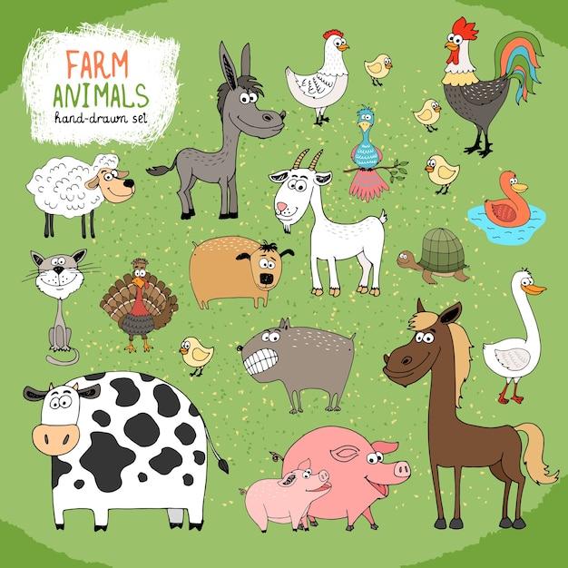 Set handgetekende boerderijdieren en vee Gratis Vector