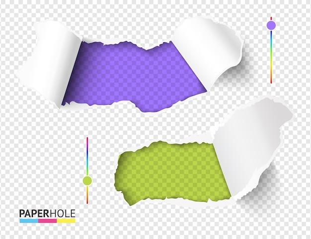 Set heldergroene en violette gaten in gescheurd papier op abstracte transparante achtergrond Premium Vector