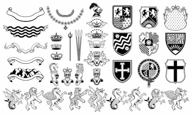 Set heraldische elementen. heraldische dieren set. Premium Vector