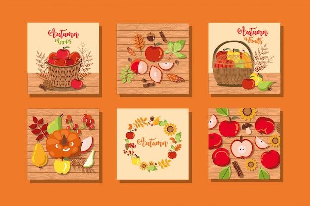 Set herfstkaarten met decoratie Gratis Vector