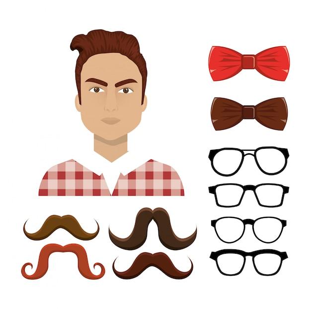 Set hipster elementen Gratis Vector