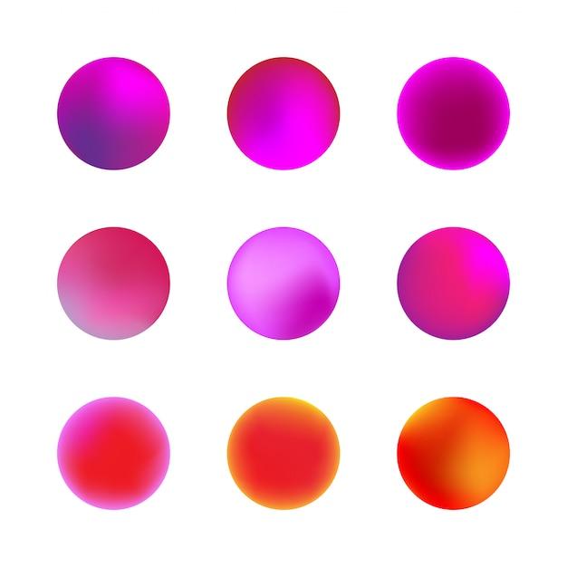 Set holografische gradiënt bol. roze of violet neon cirkel verlopen. kleurrijke ronde knoppen geïsoleerd op een witte achtergrond. Premium Vector
